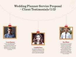 Wedding Planner Service Proposal Client Testimonials L2064 Ppt Powerpoint Inspiration