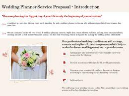 Wedding Planner Service Proposal Introduction Ppt Powerpoint Model Slide Portrait