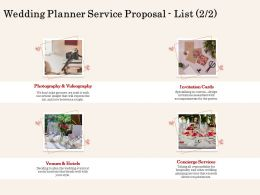 Wedding Planner Service Proposal List L2067 Ppt Powerpoint Presentation Model Images