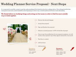 Wedding Planner Service Proposal Next Steps Ppt Powerpoint Styles Professional