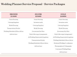 Wedding Planner Service Proposal Service Packages Ppt Powerpoint Guidelines