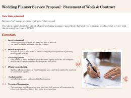 Wedding Planner Service Proposal Statement Of Work And Contract Ppt Powerpoint File