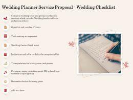 Wedding Planner Service Proposal Wedding Checklist Ppt Powerpoint Presentation Icon
