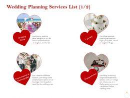 Wedding Planning Services List R200 Ppt Powerpoint Presentation Icon Slides