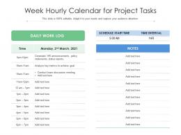 Week Hourly Calendar For Project Tasks