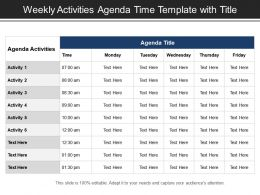 Weekly Activities Agenda Time Template With Title