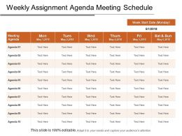 Weekly Assignment Agenda Meeting Schedule PPT Images