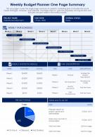 Weekly Budget Planner One Page Summary Presentation Report Infographic PPT PDF Document