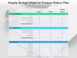 Weekly Budget Sheet For Product Rollout Plan