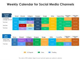 Weekly Calendar For Social Media Channels
