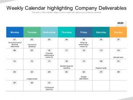 Weekly Calendar Highlighting Company Deliverables