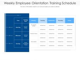 Weekly Employee Orientation Training Schedule
