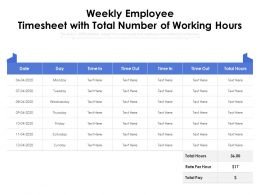 Weekly Employee Timesheet With Total Number Of Working Hours