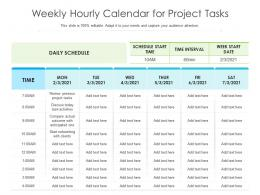 Weekly Hourly Calendar For Project Tasks
