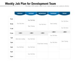 Weekly Job Plan For Development Team