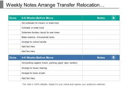 Weekly Notes Arrange Transfer Relocation Schedule Chart With Icons