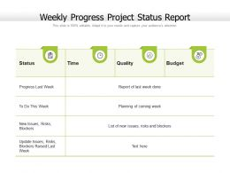 Weekly Progress Project Status Report