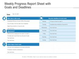 Weekly Progress Report Sheet With Goals And Deadlines