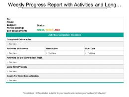 Weekly Progress Report With Activities And Long Term Projects