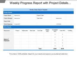 Weekly Progress Report With Project Details And Release Details