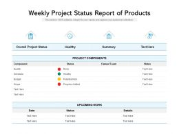 Weekly Project Status Report Of Products