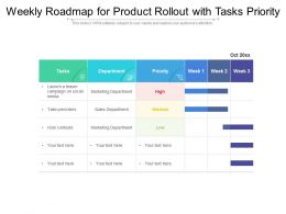 Weekly Roadmap For Product Rollout With Tasks Priority