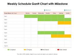 Weekly Schedule Gantt Chart With Milestone Ppt Powerpoint Presentation Styles Skills