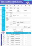 Weekly Social Media Calendar One Pager Presentation Report Infographic PPT PDF Document