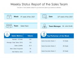 Weekly Status Report Of The Sales Team