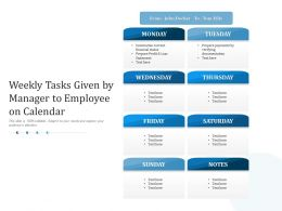 Weekly Tasks Given By Manager To Employee On Calendar