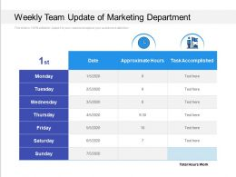 Weekly Team Update Of Marketing Department