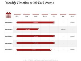 Weekly Timeline With Task Name Compare Ppt Powerpoint Presentation Background Image