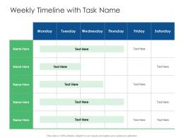 Weekly Timeline With Task Name Cyber Security Phishing Awareness Training Ppt Introduction