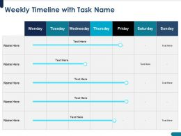 Weekly Timeline With Task Name Days And Week Ppt Powerpoint Presentation Maker