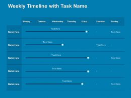 Weekly Timeline With Task Name Days Ppt Powerpoint Presentation Visual Aids