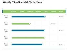 Weekly Timeline With Task Name Firm Rescue Plan Ppt Powerpoint Presentation Portfolio Example