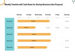Weekly Timeline With Task Name For Startup Business Idea Proposal Ppt Powerpoint Show
