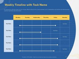 Weekly Timeline With Task Name Implementation Cost Ppt Powerpoint Presentation Styles