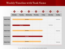 Weekly Timeline With Task Name M1203 Ppt Powerpoint Presentation File Deck