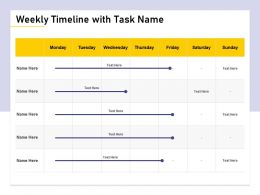 Weekly Timeline With Task Name M1475 Ppt Powerpoint Presentation Ideas Slide