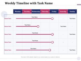Weekly Timeline With Task Name M1927 Ppt Powerpoint Presentation Model Templates