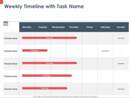 Weekly Timeline With Task Name M232 Ppt Powerpoint Presentation Portfolio Designs