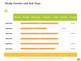 Weekly Timeline With Task Name M2437 Ppt Powerpoint Presentation Icon Example
