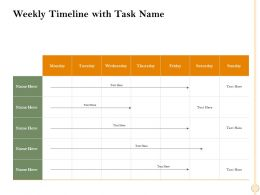 Weekly Timeline With Task Name M2475 Ppt Powerpoint Presentation Infographics Picture