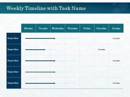 Weekly Timeline With Task Name M2646 Ppt Powerpoint Presentation File Maker
