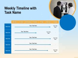 Weekly Timeline With Task Name M3379 Ppt Powerpoint Presentation Styles Slide Download