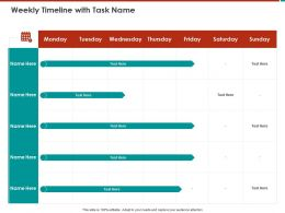 Weekly Timeline With Task Name M807 Ppt Powerpoint Presentation Ideas Guide