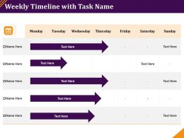 Weekly Timeline With Task Name Monday To Sunday Powerpoint Presentation Visual Aids