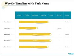 Weekly Timeline With Task Name Monday To Sunday Ppt Powerpoint Topics