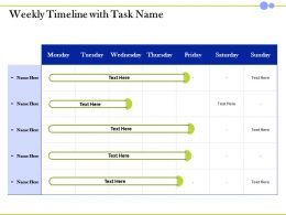 Weekly Timeline With Task Name Monday To Sunday Ppt Presentation Model